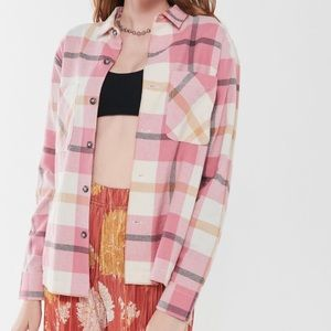 UO Pink Flannel Shirt Plaid Button-Down Blouse NEW